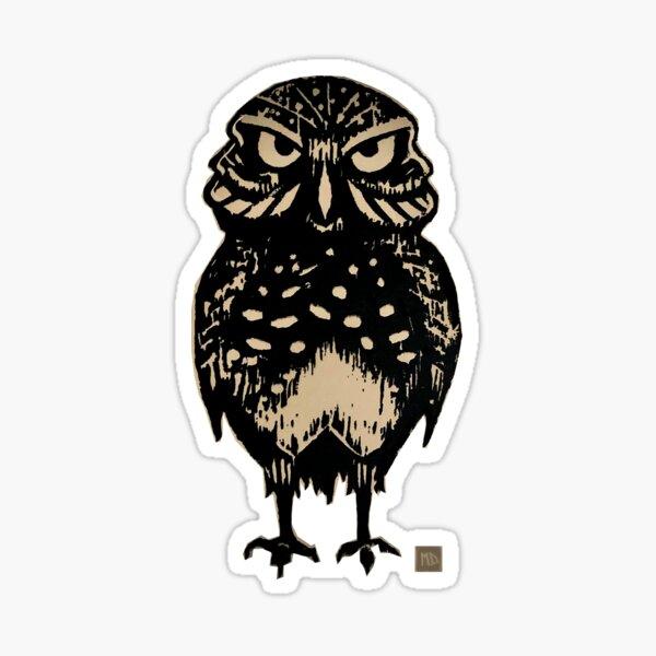 Burrowing Owl Wood Cut Print - Silhouette Sticker