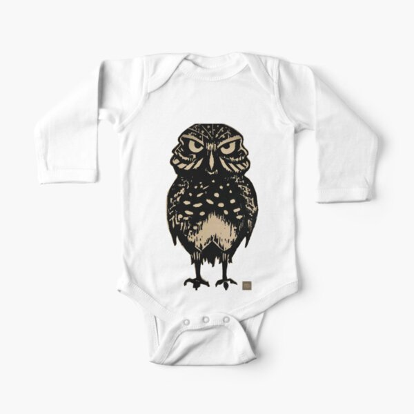 Burrowing Owl Wood Cut Print - Silhouette Long Sleeve Baby One-Piece