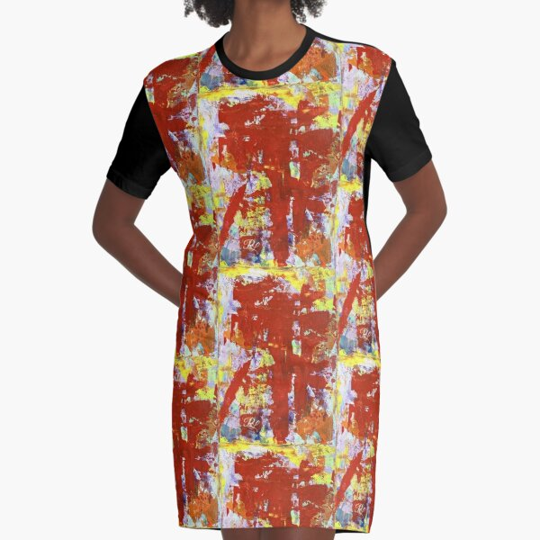 Yellow Abstract Graphic T-Shirt Dress
