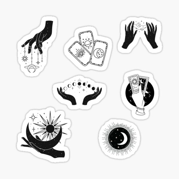 Celestial Witch Aesthetic Sticker Pack, Bohemian Hand Drawn Sketch, Modern Witch Aesthetic Art Sticker