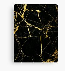 Luxe Black and Gold Marble Canvas Print