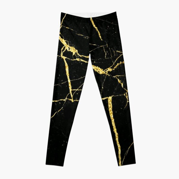 Luxe Black and Gold Marble Leggings