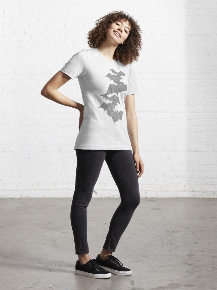 Alternate view of Bat Origami Essential T-Shirt