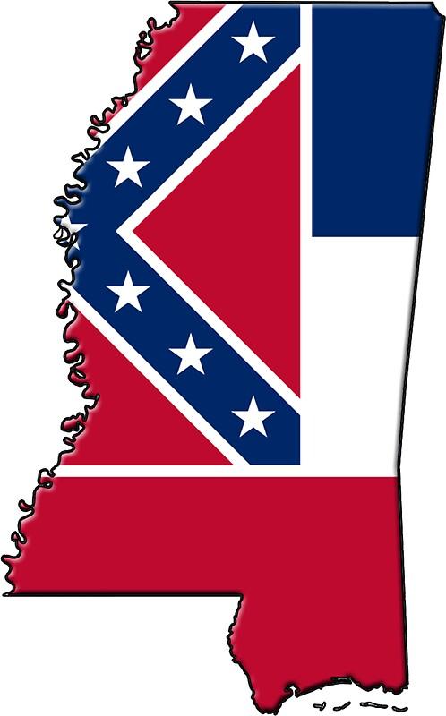 """Mississippi State Flag & Outline"" Stickers by Davedinho ...  ""Mississip..."
