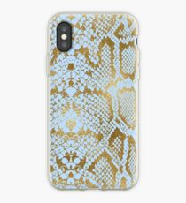 Blue and Gold Snakeskin  iPhone Case