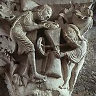 Miller and grain on column capital Cathedral Vezelay France 19840505 0076  by Fred Mitchell