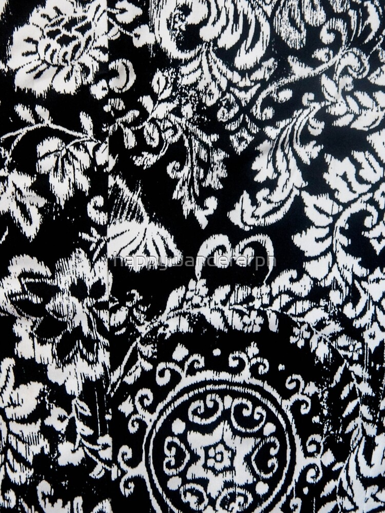 Classic Damask Design in Black and White by happywandererph