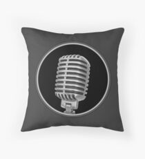 Old Vintage Microphone Throw Pillow