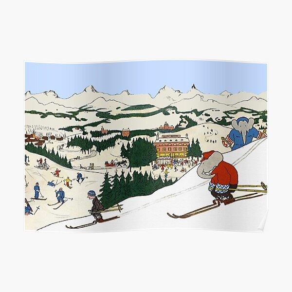 Babar fait du ski Poster