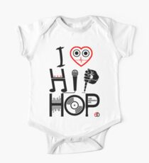 I Love Hip Hop - Music DJ Design - Dark Text One Piece - Short Sleeve