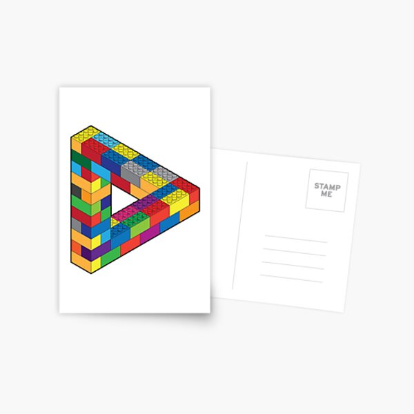 Play with Me: Lego Penrose Toy Triangle Impossible Object Illusion Postcard