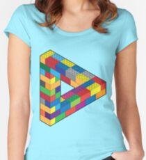 Play with Me: Lego Penrose Toy Triangle Impossible Object Illusion Women's Fitted Scoop T-Shirt