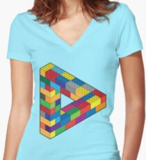 Play with Me: Lego Penrose Toy Triangle Impossible Object Illusion Women's Fitted V-Neck T-Shirt