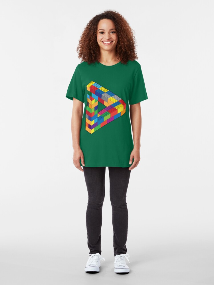 Alternate view of Play with Me: Lego Penrose Toy Triangle Impossible Object Illusion Slim Fit T-Shirt