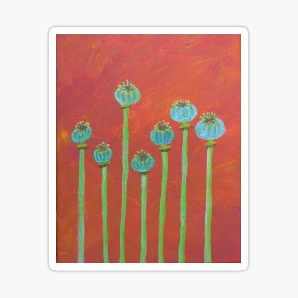 Seven Poppy Seed Pods Sticker