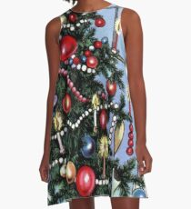 Retro Christmas Tree A-Line Dress