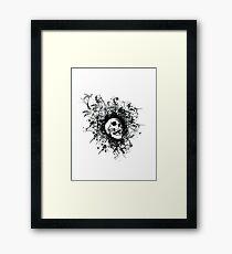 Skull Floral Explosion Framed Print