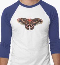Hyalophora Cecropia Moth (white background) Men's Baseball ¾ T-Shirt