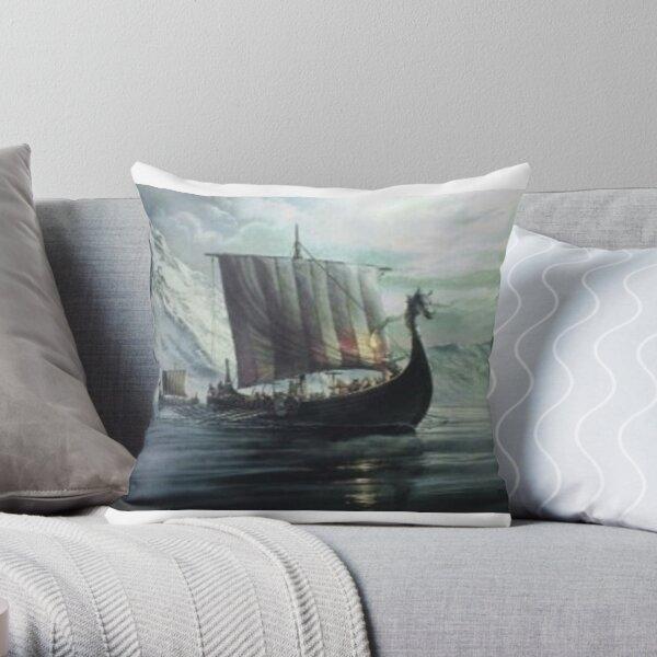 Viking ship Drakkar Throw Pillow