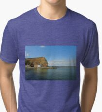 Across Staithes Harbour To Cowbar Nab Tri-blend T-Shirt