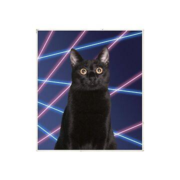 80'S LASER BACKGROUND CAT by LostVox
