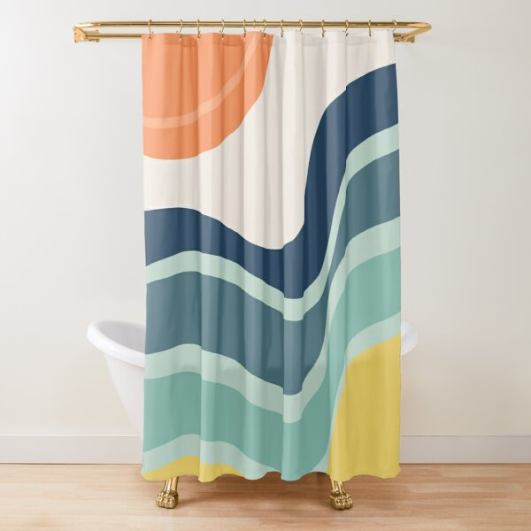 Abstract landscape with sun and stormy ocean Shower Curtain