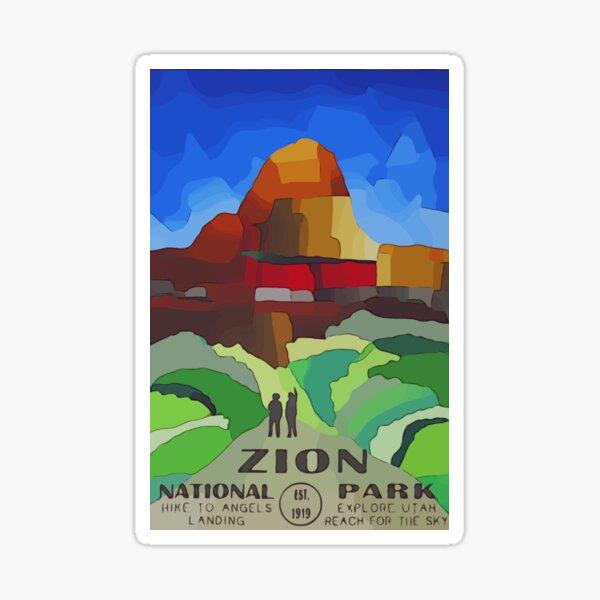 Zion National Park Poster Art Sticker