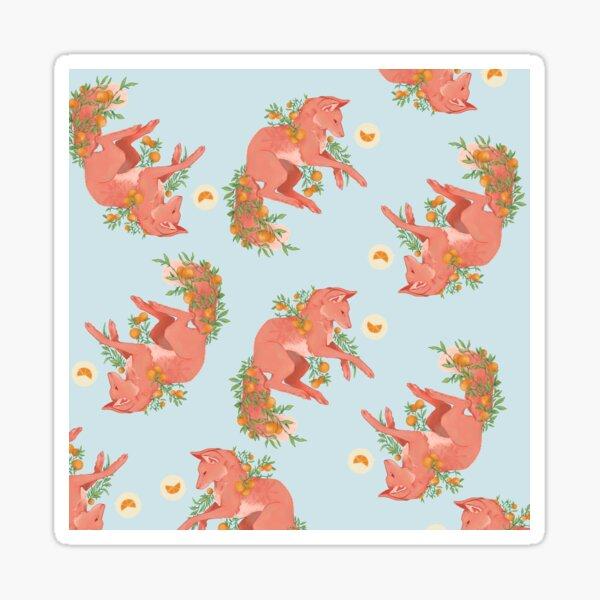 Fantastic Frolicking Fruit Fox Pattern Sticker