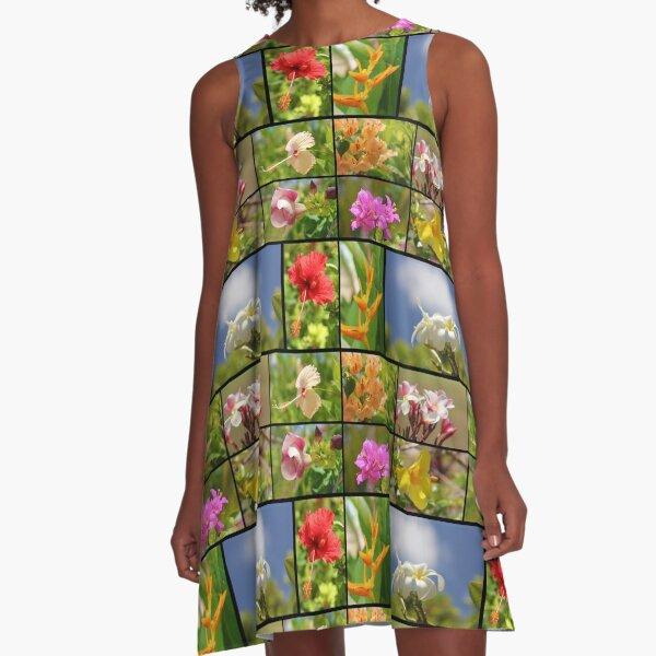 Tropical Flowers Collage Plumeria Hibiscus Soft Focus A-Line Dress