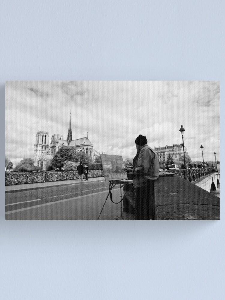 Alternate view of Artist at work - Notre Dame - Paris, France Canvas Print