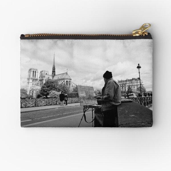 Artist at work - Notre Dame - Paris, France Zipper Pouch