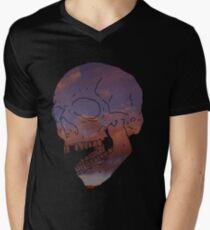 skull w/ some clouds behind Mens V-Neck T-Shirt