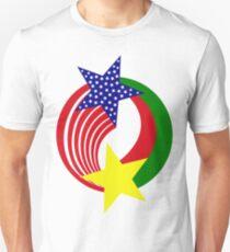 Burkina Faso American Multinational Patriot Flag Slim Fit T-Shirt