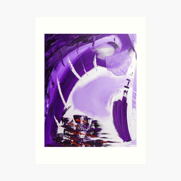 Abstract paint structure purple black Art Print