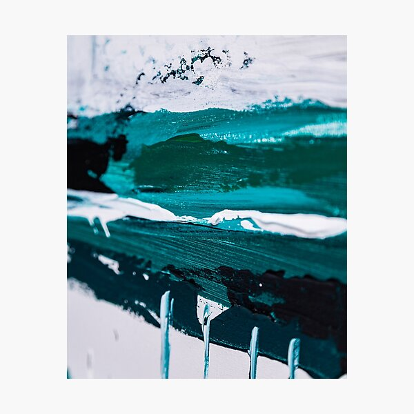 Abstract paint structure blue green Photographic Print