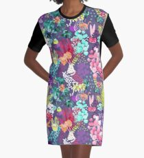 Indoor Plants Cat Garden Graphic T-Shirt Dress