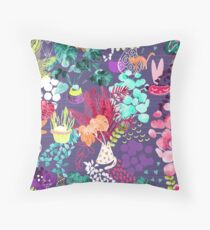 Indoor Plants Cat Garden Throw Pillow