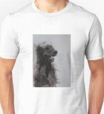 Golden Retriever Portrait, Black and White Drawing Unisex T-Shirt