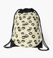 Ghibli Inspired Soot Sprites with Candy Pattern Drawstring Bag