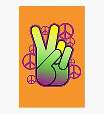 Bright Neon Peace Sign Photographic Print