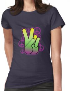Bright Neon Peace Sign Womens Fitted T-Shirt