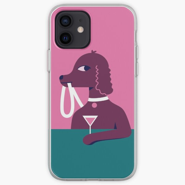 Stylish dog with Martini iPhone Soft Case