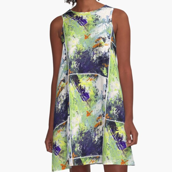 Green Abstract A-Line Dress