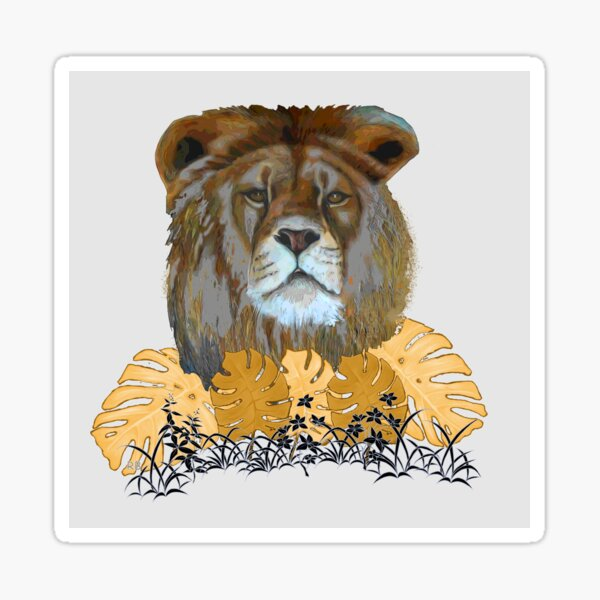 Lion with Gold Tropical Plants Sticker