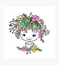 Female portrait with floral hairstyle Photographic Print