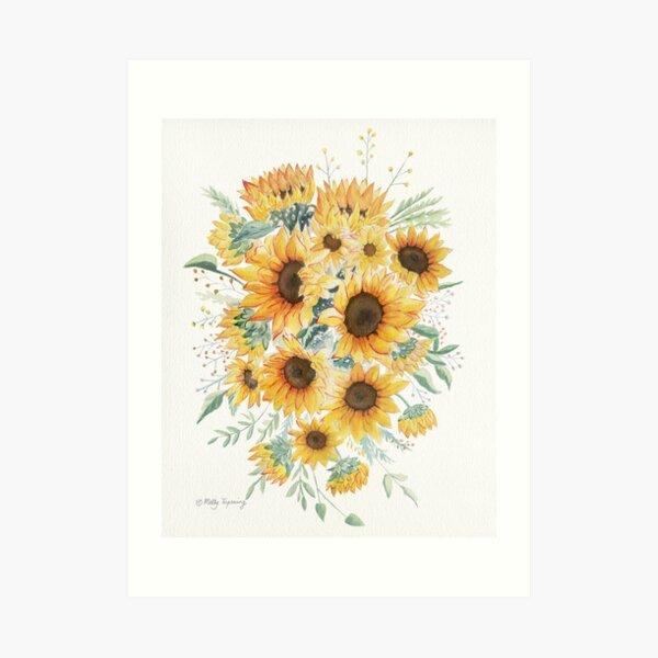 Loose Watercolor Sunflowers Art Print