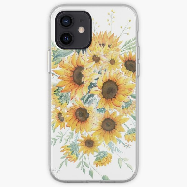 Loose Watercolor Sunflowers iPhone Soft Case