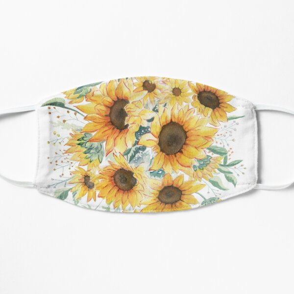 Loose Watercolor Sunflowers Flat Mask