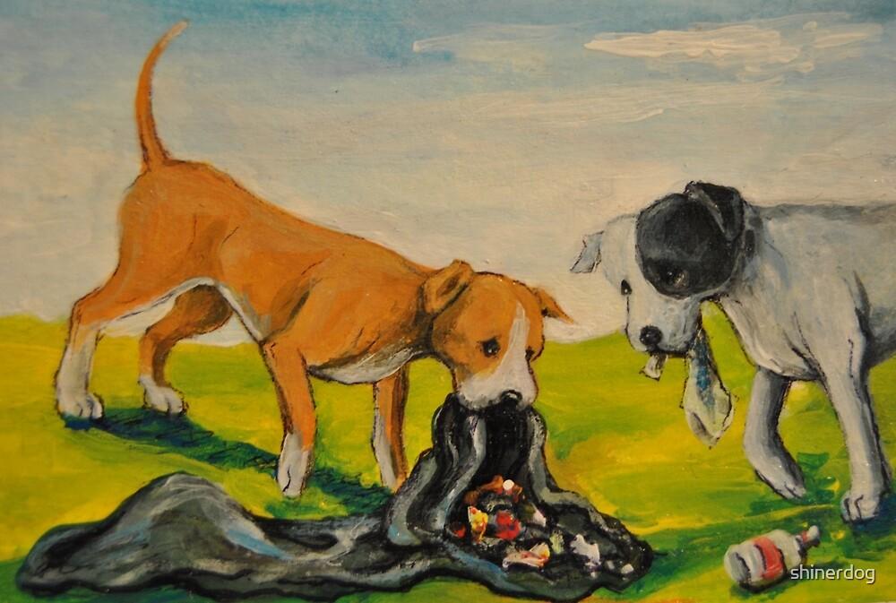 Careless Pit Bulls Dogs!~~Whimsical~Love~Dog by shinerdog