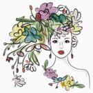 Female profile with floral hairstyle by Kudryashka